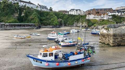 Boat at low tide, Newquay harbour
