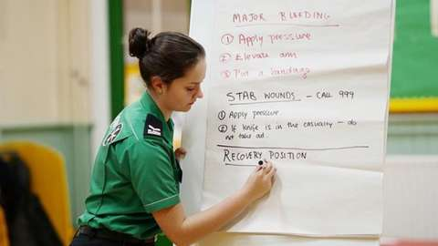Training being given by a St John Ambulance staff member