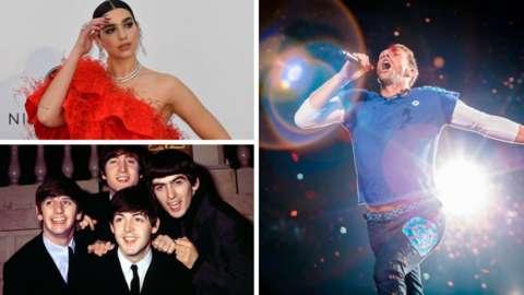 Dua Lipa, Coldplay and The Beatles