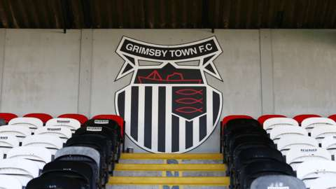 Grimsby Town logo at their Blundell Park home
