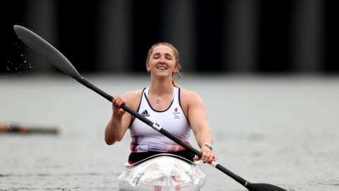 Charlotte Henshaw paddling in a kayak