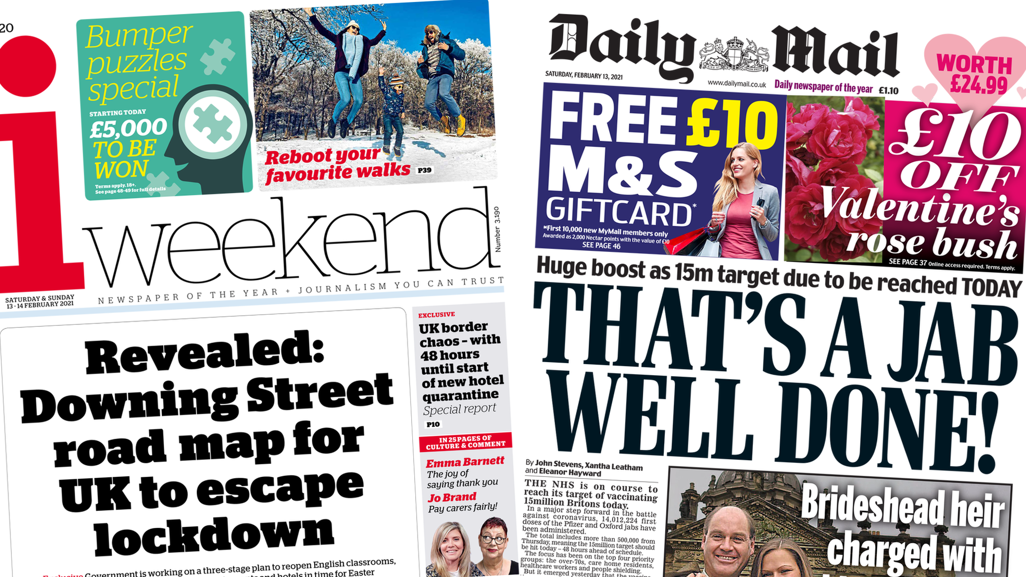 Front pages for 13 February 2021