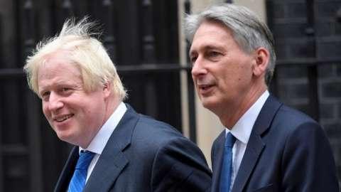 Boris Johnson and Philip Hammond, in 2019