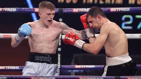 Campbell Hatton hits Jesus Ruiz with a left during his first professional fight in March
