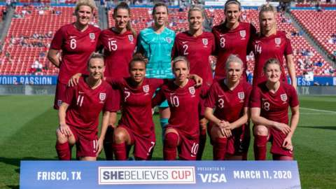 England Women at the SheBelieves Cup in 2019