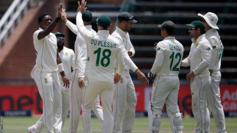 South African cricketers celebrating