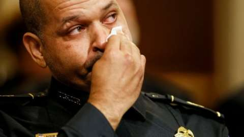 Capitol police officer Aquilino Gonell testifies in a Congressional committee in Washington DC. Photo: 27 July 2021