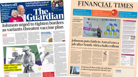 The Guardian and the Financial Times front pages