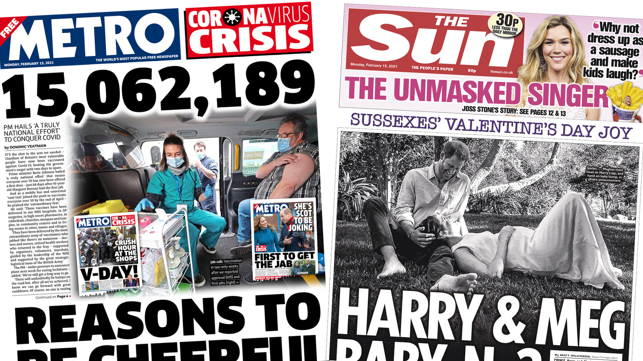 Front pages for 15 February 2021