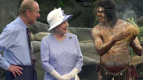 Queen Elizabeth II and Prince Philip with aborigine 2002