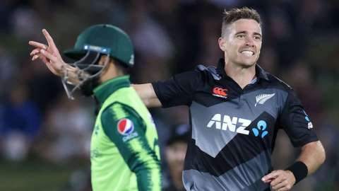 Pakistan's Shadab Khan and New Zealand's Tim Southee