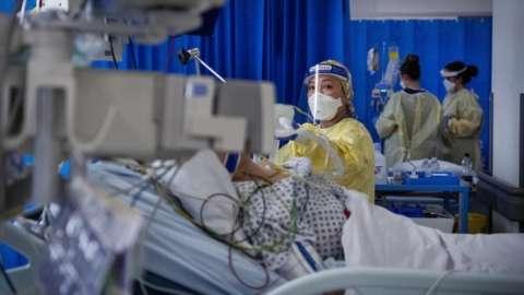 Nurse in ICU at St George's Hospital, Tooting