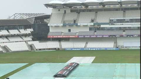 The covers remained on all day in Leeds at a wet Emerald Headingley