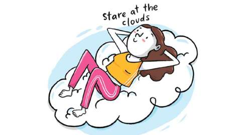 Brightly coloured illustration of a woman lying back looking at clouds