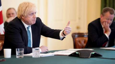 Prime Minister Boris Johnson holds a video conference with European leaders