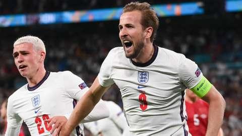 Harry Kane celebrates scoring England's second goal against Denmark in the Euro 2020 semi-final