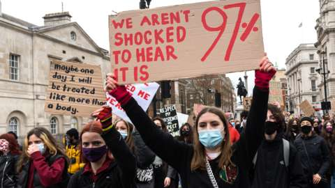 Demonstrators take part in a protest march through central London against violence towards women and the government's Police, Crime, Sentencing and Courts Bill, on 3 April 2021