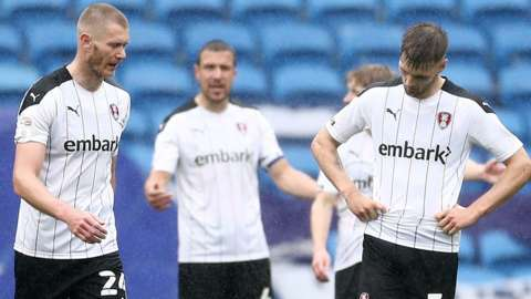 Dejected Rotherham United players