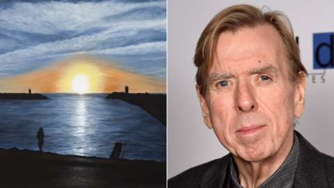 Timothy Spall and his painting Waveless Today, Nazare, 2021