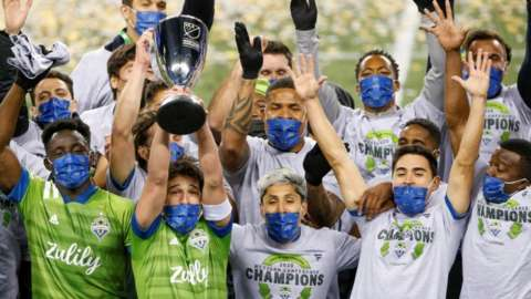 Seattle Sounders lift the MLS Western Conference Finals trophy