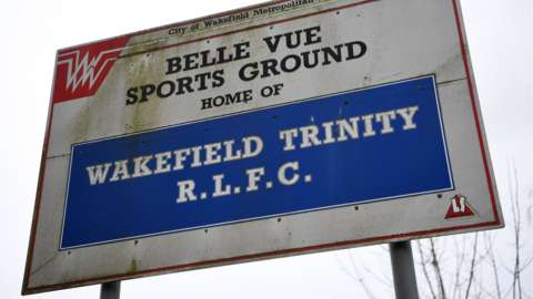 A sign at Belle Vue, home of Wakefield Trinity