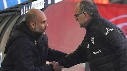 Pep Guardiola and Marcelo Bielsa shake hands