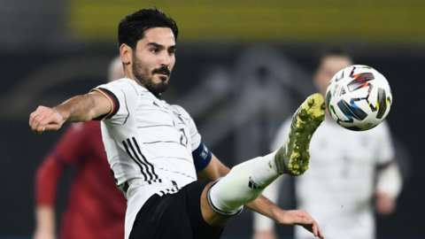 Manchester City's Ilkay Gundogan in action for Germany against Czech Republic