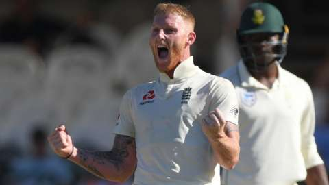 England all-rounder Ben Stokes celebrates victory over South Africa in the second Test in Cape Town