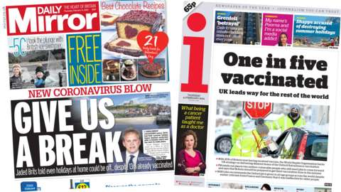 The Daily Mirror and i front pages
