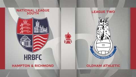 Hampton & Richmond Borough v Oldham Athletic graphics