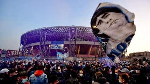 Napoli fans pay tribute to Diego Maradona outside the Stadio San Paolo