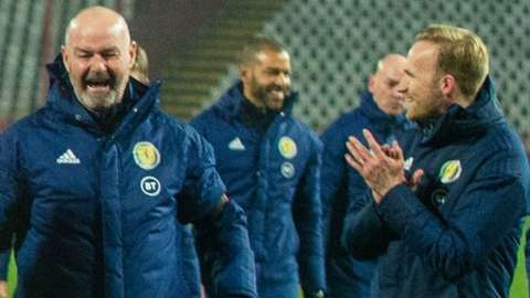 Scotland head coach Steve Clarke (left) celebrates