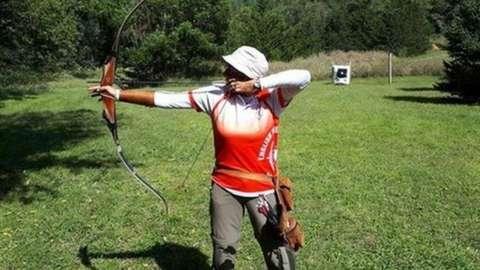 Lesley Sleight shoots an arrow