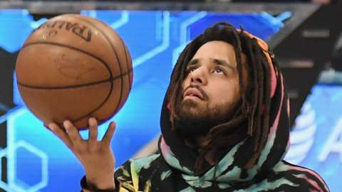 J Cole with basketball