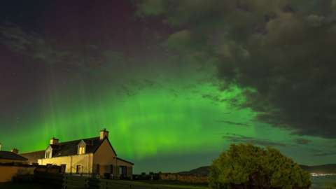 The aurora borealis over Embo in the Highlands
