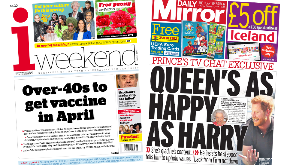 The i weekend and the daily mirror front pages 27 February 2021