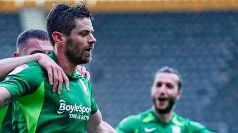 Lukas Jutkiewicz celebrates scoring for Birmingham City against Derby County