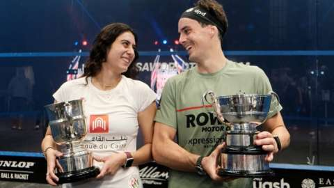 Paul Coll and Nour El Sherbini at the 2021 British Open in Hull