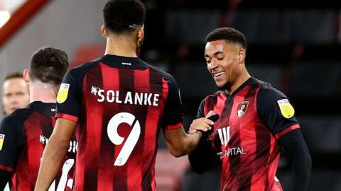 Bournemouth forwards Dominic Solanke and Arnaut Danjuma celebrate a goal