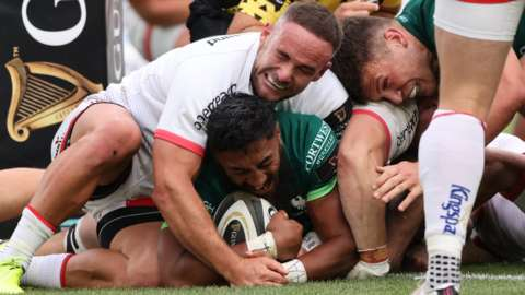 Ulster's Alby Mathewson is unable to prevent Bundee Aki from scoring a try in the sides' last meeting in August