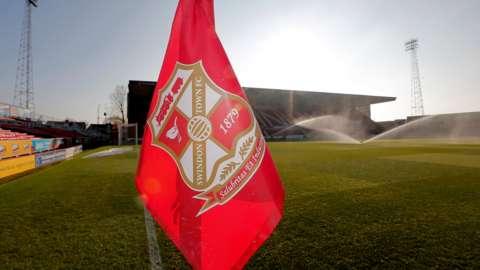 A corner flag at Swindon's County Ground stadium