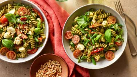 Pasta and pesto salad