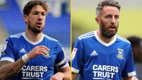 Luke Chambers and Cole Skuse in action for Ipswich Town