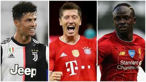 Cristiano Ronaldo, Robert Lewandowski, Sadio Mane