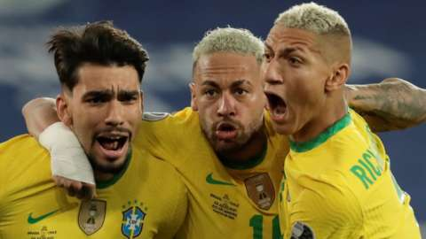 Lucas Paqueta (left) celebrates with Brazil team-mates Neymar (centre) and Richarlison after scoring against Chile in their Copa America quarter-final