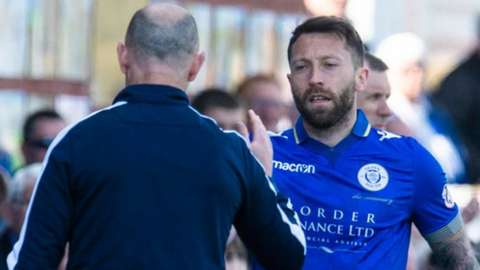 Queen of the South manager Allan Johnston and Stephen Dobbie