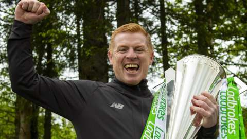 Celtic manager Neil Lennon with the Scottish Premiership trophy