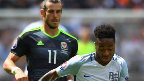 Wales' Gareth Bale and England's Raheem Sterling in action during Euro 2016