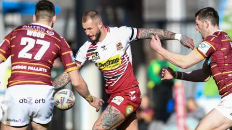 Huddersfield v Wigan in Super League action