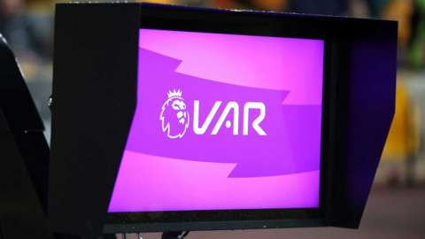 The VAR system pitch side during a Premier League match at Molineux, Wolverhampton